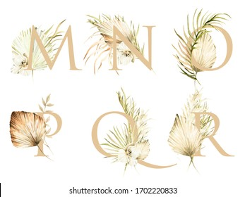Watercolor boho alphabet with hand painted tropical flowers of white orchid, palm leaves and branches of pampas. Set of letters M, N, O, P, Q, R. floral set perfect for wedding cards or scrapbooking