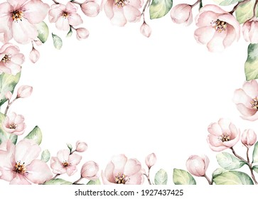 Watercolor boho blossom flower background. Spring or summer decoration floral bohemian design frame. Watercolour isolated. foliage illustration with cherry, green leaf, feather