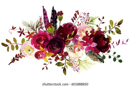 Watercolor Boho Burgundy Red Magenta White Floral  Bouquet  Flowers and Feathers Isolated.