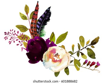 Watercolor Boho Burgundy Red White Floral Corner Bouquet  Flowers and Feathers Isolated.