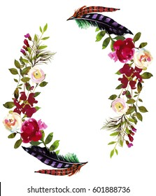 Watercolor Boho Burgundy Red White Floral Wreath Flowers and Feathers Oval Isolated.