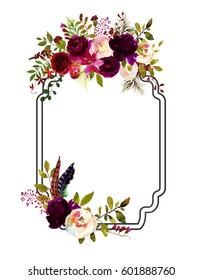 Watercolor Boho Burgundy Red White Pink Floral Frame Flowers and Feathers Isolated.