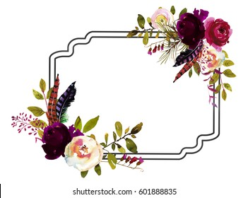 Watercolor Boho Burgundy Red White Floral Frame Flowers, Levaes and Feathers Isolated.