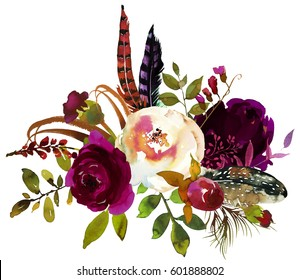 Watercolor Boho Burgundy Violet White Floral Bouquet Flowers and Feathers Isolated.