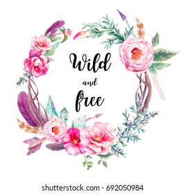 Watercolor boho chic eucalyptus and tree branches wreath with flowers bouquet, arrows and feathers. Hand drawn floral decor isolated on white background.