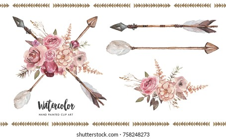 Watercolor boho floral illustration set - arrows with flower bouquets for wedding, anniversary, birthday, invitations, tribal native american symbol, bohemian DIY indian