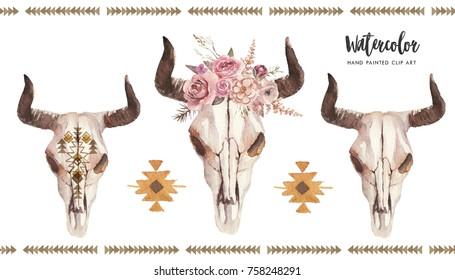 Watercolor boho floral illustration set - bull / cow skulls with horns & flower bouquet, arrangement for wedding, anniversary, birthday, invitations, tribal native american symbol, bohemian DIY indian
