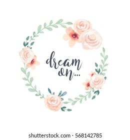 Watercolor boho floral wreath. Bohemian natural frame: leaves, feathers, flowers, Isolated on white background. Artistic decoration illustration. Save the date, weddign design,valentine's day