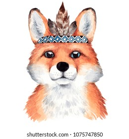 Watercolor boho fox portrait. Hand drawn illustration with forest animal.