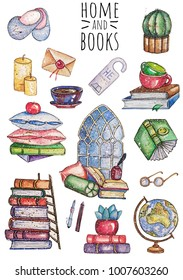 Watercolor book stickers set.