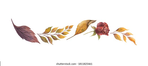 Watercolor border with autumn leaves and branches isolated on white background. Arrangement for greeting cards, wedding invitations, invite and decorations.