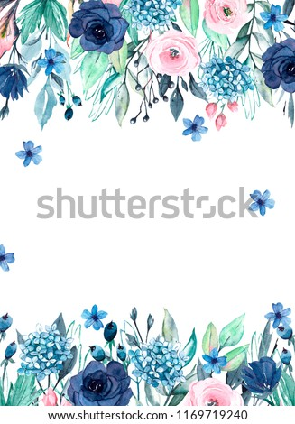 Watercolor Border Card Floral Frame Blue Stock ...