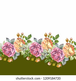 watercolor border with coloful flowers