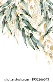 Watercolor border of gold eucalyptus branches, seeds and linear leaves. Hand painted card of plants isolated on white background. Floral illustration for design, print, fabric or background.