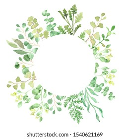 Watercolor border with greenery and foliage