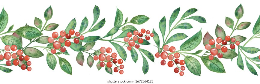 Watercolor. A border of leaves, greenery and red berries. Floral seamless pattern.