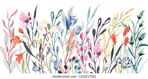 Watercolor border, meadow flowers. Fast isolation , frame for a greeting card, decoration of a wedding invitation. Hand painted.