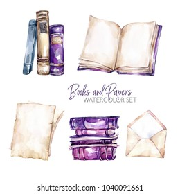 Watercolor borders set with old books, envelope and paper sheets. Original hand drawn illustration in violet shades. School design. ClipArt elements. DIY, scrapbooking collection.