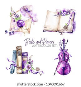 Watercolor borders set with old books, envelope, key, violin, flowers and berries. Original hand drawn illustration in violet shades. Summer design. ClipArt elements. DIY, scrapbooking collection.