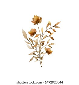 Watercolor botanical floral illustration. Painted autumn composition of flowers, twigs, leaves and herbs. Beautiful bouquet. Element for design