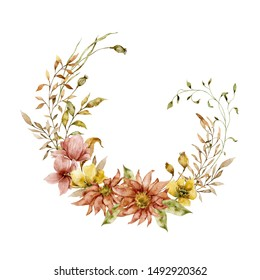 Watercolor botanical floral illustration. Painted autumn composition of flowers, twigs, leaves and herbs. Beautiful wreath. Element for design