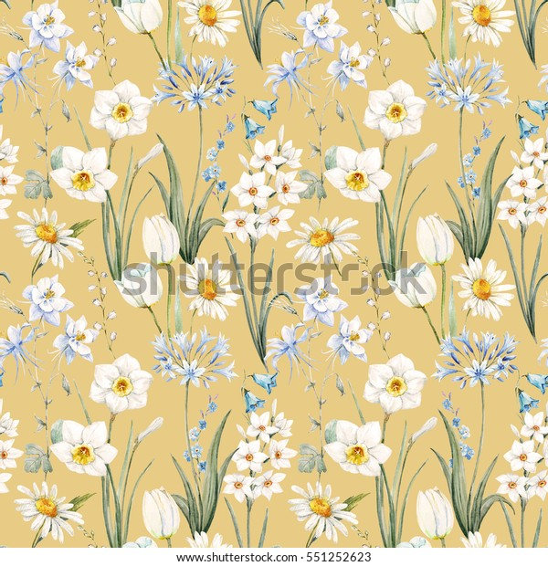 Watercolor Botanical Floral Pattern Wallpaper Spring Stock