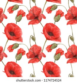 Watercolor botanical illustartion. Red Poppy flowers on a white. Seamless pattern,  path included