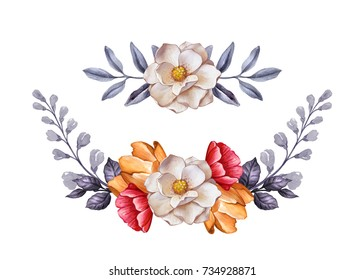 watercolor botanical illustration, autumn flowers, dried leaves, floral garland decoration,  design elements set, fall, clip art isolated on white background