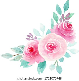 Watercolor botanical illustration. Bouquets with Pink roses and Mint leaves. Perfect for wedding invitations, cards, frames, posters, packing.