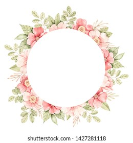 Watercolor botanical illustration. Label with Pink dog-rose blossom. Circle with gentle rose, bud, branches and green leaves. Perfect for wedding invitations, cards, frames, posters, packing.