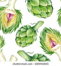 Watercolor Botanical illustration of a vegetable artichoke, vegetarian pattern on a white background