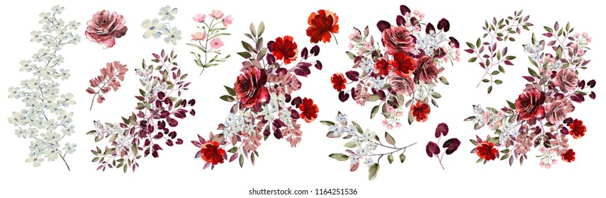 Watercolor, Botanical illustration.Flower arrangements of Burgundy roses,blue , pink flowers, colorful leaves, wild herbs. A set of bouquets, twigs, floral elements, flowers.