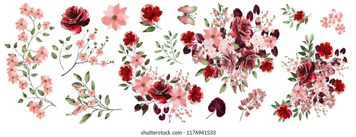 Watercolor, Botanical illustration.Flower arrangements of pink, Burgundy roses, colorful leaves, wild herbs. A set of bouquets, twigs, floral elements.