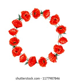 Watercolor botanical poppy wreath illustration. Watercolor banner with red poppy flowers on white background. Poppy flower remembrance day symbol. Isolated on white background.