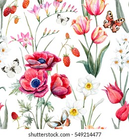 Watercolor Botanical spring floral pattern.  flowers tulip.  red anemone.  daffodil