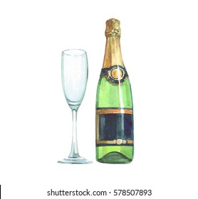 Watercolor a bottle of champagne and glass isolated on a white background illustration.