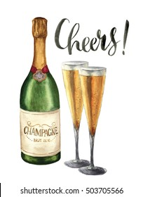 Watercolor bottle of champagne, wineglasses and Cheers lettering. Bottle of sparkling wine with glasses isolated on white background. Party illustration for design, print or background.