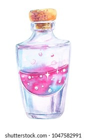 Watercolor bottle with magic liquid with sparkles and bubbles. Perfume flask.