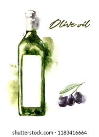 Watercolor bottle with olive oil on white background. Hand drawn watercolor illustration with splashes