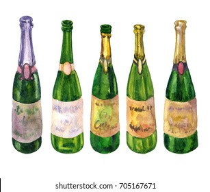 watercolor bottles of champagne. hand drawn illustration