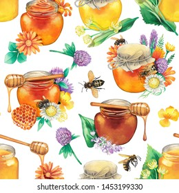 Watercolor bottles with different varieties of honey surrounded by honeycombs, meadow flowers and bees. Hand painted repeated seamless pattern