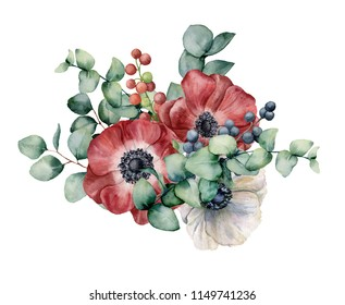 Watercolor bouquet with anemone, eucalyptus and berries. Hand painted red and white flowers, green leaves, berries, branch isolated on white background. Illustration for design, print or background