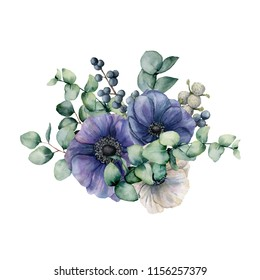 Watercolor bouquet with anemone and eucalyptus. Hand painted blue and white flowers, green leaves, berries, branch isolated on white background. Illustration for design, print or background