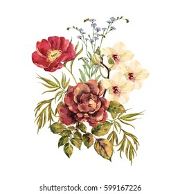 Watercolor bouquet of elegant flowers. Peony with orchid and red rose on white background. Illustration for decor cards and other your project.