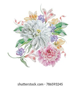 Watercolor bouquet with flowers. Chrysanthemum. Peony. Illustration. Hand drawn.