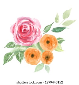 Watercolor bouquet of flowers. Colorful floral composition isolated on white background. Vintage style peony, roses and leaves.