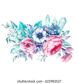 Watercolor bouquet of flowers with gemstones. Hand painted floral and minerals composition isolated on white background. Vintage style peony, roses, anemone, berries and leaves posy.