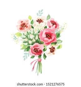 Watercolor bouquet. Flowers, leaves. Isolated on white background. Holiday, wedding design element