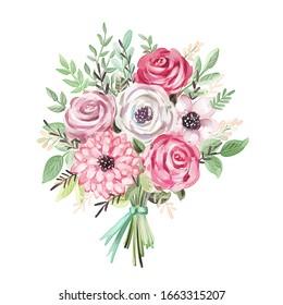 Aquarellbouquet. Blumen, Blätter, Band. Einzeln auf weißem Hintergrund. Feiertag, Blumen, Design-Element
