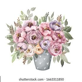Aquarellbouquet. Blumen, Blätter, Vase. Einzeln auf weißem Hintergrund. Blumen, Design-Element